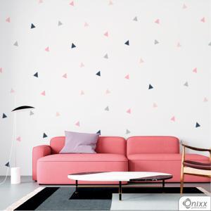 Kit de Adesivos Triângulos Rosê e Cinza Adesivo Vinil 0,10  4x0 | Impressão Digital - Látex Fosco Corte 100% Digital