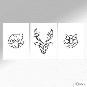 Kit De Placas Decorativas Animais Geométricos A4