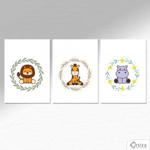 Kit De Placas Decorativas Animals A4 MDF 3mm 30X20CM 4x0 Adesivo Fosco Corte Reto Fita Dupla Face 3M