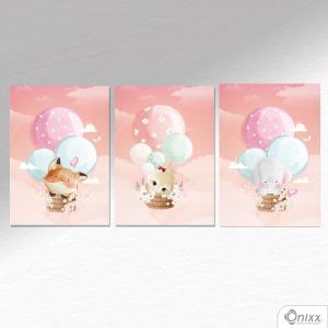 Kit De Placas Decorativas Balões nas Nuvens A4 MDF 3mm 30X20CM 4x0 Adesivo Fosco Corte Reto Fita Dupla Face 3M