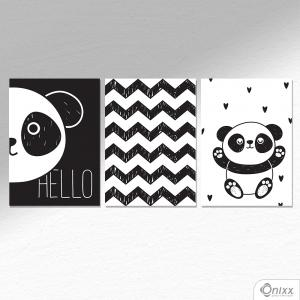 Kit De Placas Decorativas Cute Panda A4 MDF 3mm 30X20CM 4x0 Adesivo Fosco Corte Reto Fita Dupla Face 3M
