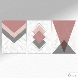 Kit De Placas Decorativas Formas Geométricas Em Mármore A4