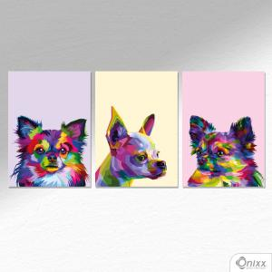 Kit De Placas Decorativas Chihuahua A4 MDF 3mm 30X20CM 4x0 Adesivo Fosco Corte Reto Fita Dupla Face 3M