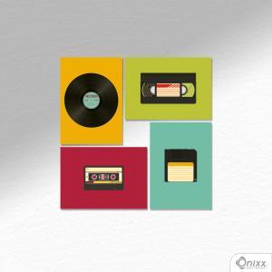 Kit De Placas Decorativas Mídia Retro A4 MDF 3mm 30X20CM 4x0 Adesivo Fosco Corte Reto Fita Dupla Face 3M