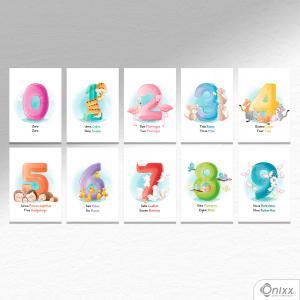 Kit De Placas Decorativas Números A4 MDF 3mm 30X20CM 4x0 Adesivo Fosco Corte Reto Fita Dupla Face 3M