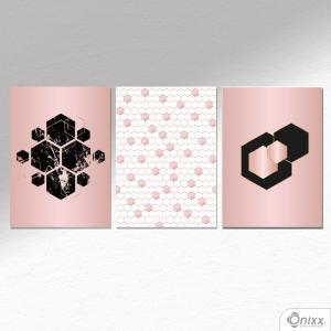 Kit De Placas Decorativas Rose Octagon A4 MDF 3mm 30X20CM 4x0 Adesivo Fosco Corte Reto Fita Dupla Face 3M