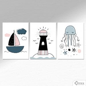 Kit De Placas Decorativas Sea Composition A4 MDF 3mm 30X20CM 4x0 Adesivo Fosco Corte Reto Fita Dupla Face 3M