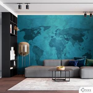 Painel Adesivo Mapa Abstrato Azul Adesivo Vinílico 0,10 Sob medida 4x0 / Impressão Digital Fosco Divididos em Rolos de 50cm