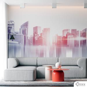 Painel Adesivo Cidade Abstrato Adesivo Vinílico 0,10 Sob medida 4x0 / Impressão Digital Fosco Divididos em Rolos de 50cm