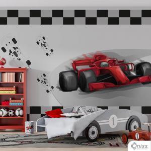 Painel Adesivo Carro de Corrida Vermelho Adesivo Vinílico 0,10 Sob medida 4x0 / Impressão Digital Fosco Divididos em Rolos de 50cm