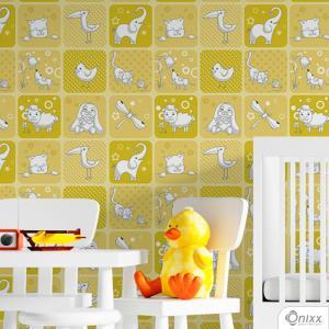 Papel de Parede Adesivo Animais Tema Amarelo Adesivo Vinílico 0,10 58x300cm 4x0 / Impressão Digital Látex Fosco Divididos em Rolos de 58cm