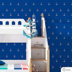 Papel de Parede Adesivo Azul Âncoras Adesivo Vinílico 0,10 58x300cm 4x0 / Impressão Digital Látex Fosco Divididos em Rolos de 58cm