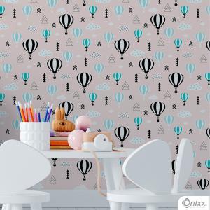Papel de Parede Adesivo Balões Adesivo Vinílico 0,10 58x300cm 4x0 / Impressão Digital Látex Fosco Divididos em Rolos de 58cm