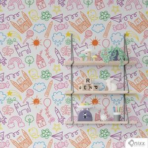 Papel de Parede Adesivo kidding Adesivo Vinílico 0,10 58x300cm 4x0 / Impressão Digital Látex Fosco Divididos em Rolos de 58cm