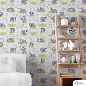 Papel de Parede Adesivo Little Sheep Adesivo Vinílico 0,10 58x300cm 4x0 / Impressão Digital Látex Fosco Divididos em Rolos de 58cm