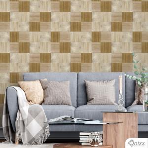 Papel de Parede Adesivo Madeira Mosaico Em Tons Adesivo Vinílico 0,10 58x300cm 4x0 / Impressão Digital Látex Fosco Divididos em Rolos de 58cm