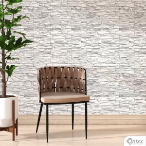Papel de Parede Adesivo Pedra Canjiquinha Branca Adesivo Vinílico 0,10 58x300Cm 4x0 / Impressão Digital Látex Fosco Divididos em Rolos de 58cm