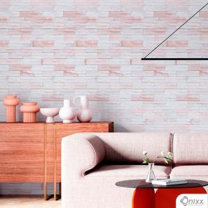 Papel de Parede Adesivo Pedra Canjiquinha Rosê Adesivo Vinílico 0,10 58x300Cm 4x0 / Impressão Digital Látex Fosco Divididos em Rolos de 58cm