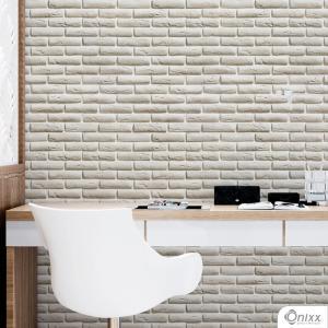 Papel de Parede Adesivo Tijolinho Aparente Branco Adesivo Vinílico 0,10 58x300cm 4x0 / Impressão Digital Látex Fosco Divididos em Rolos de 58cm