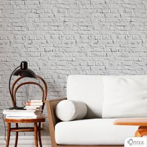 Papel de Parede Adesivo Tijolinho Aparente Rústico Branco Adesivo Vinílico 0,10 58x300cm 4x0 / Impressão Digital Látex Fosco Divididos em Rolos de 58cm