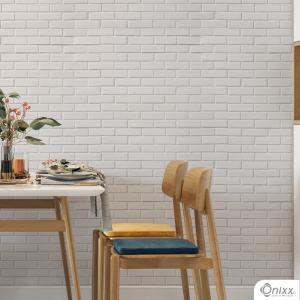 Papel de Parede Adesivo Tijolinho Branco Adesivo Vinílico 0,10 58x300Cm 4x0 / Impressão Digital Látex Fosco Divididos em Rolos de 58cm