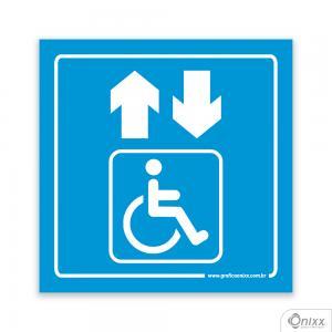 Placa Acesso Para Deficientes ( Elevador ) Azul PVC 1mm  4/0 / Látex Adesivo Fosco Corte Reto Fita Dupla Face 3M