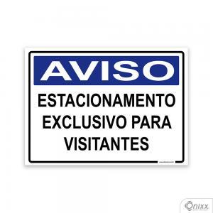 Placa Aviso Estacionamento Exclusivo Para Visitantes PVC 2mm  4/0 / Látex Adesivo Fosco Corte Reto Fita Dupla Face 3M