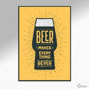 Placa Decorativa Beer Makes Better In Yellow A4 MDF 3mm 30X20CM 4x0 Adesivo Fosco Corte Reto Fita Dupla Face 3M