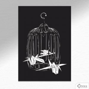 Placa Decorativa Birds Origami A4 MDF 3mm 30X20CM 4x0 Adesivo Fosco Corte Reto Fita Dupla Face 3M