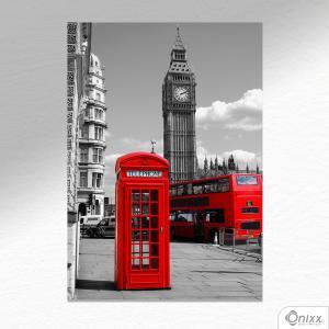 Placa Decorativa Cabine Telefônica Inglaterra PB A4 MDF 3mm 30X20CM 4x0 Adesivo Fosco Corte Reto Fita Dupla Face 3M