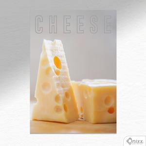 Placa Decorativa Cheese A4 MDF 3mm 30X20CM 4x0 Adesivo Fosco Corte Reto Fita Dupla Face 3M