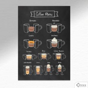 Placa Decorativa Coffee Menu A4 MDF 3mm 30X20CM 4x0 Adesivo Fosco Corte Reto Fita Dupla Face 3M