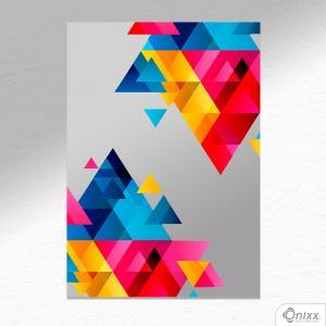 Placa Decorativa Composição De Triângulos Em Cores  A4 MDF 3mm 30X20CM 4x0 Adesivo Fosco Corte Reto Fita Dupla Face 3M