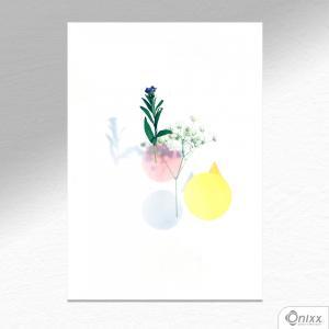 Placa Decorativa Composição Leve Com Flores A4 MDF 3mm 30X20CM 4x0 Adesivo Fosco Corte Reto Fita Dupla Face 3M