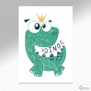 Placa Decorativa Dino Ilustrado A4 MDF 3mm 30X20CM 4x0 Adesivo Fosco Corte Reto Fita Dupla Face 3M
