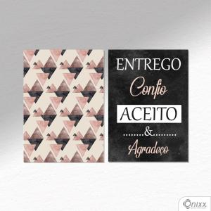 Kit De Placas Decorativas Entrega e Confia A4 MDF 3mm 30X20CM 4x0 Adesivo Fosco Corte Reto Fita Dupla Face 3M