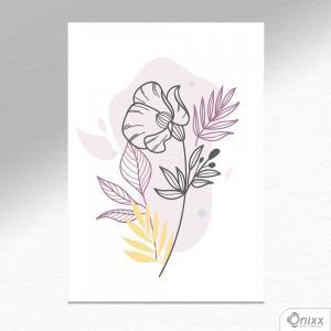 Placa Decorativa Flor Ilustrada Em Tons Leves A4 MDF 3mm 30X20CM 4x0 Adesivo Fosco Corte Reto Fita Dupla Face 3M