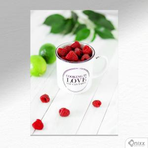 Placa Decorativa Framboesa Na Caneca A4 MDF 3mm 30X20CM 4x0 Adesivo Fosco Corte Reto Fita Dupla Face 3M