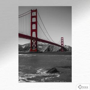 Placa Decorativa Golden Gate A4 MDF 3mm 30X20CM 4x0 Adesivo Fosco Corte Reto Fita Dupla Face 3M