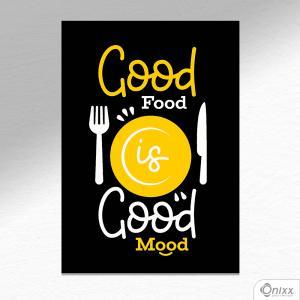 Placa Decorativa Good Food A4 MDF 3mm 30X20CM 4x0 Adesivo Fosco Corte Reto Fita Dupla Face 3M