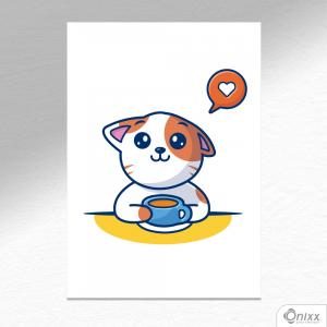 Placa Decorativa Love Coffee Cat A4 MDF 3mm 30X20CM 4x0 Adesivo Fosco Corte Reto Fita Dupla Face 3M
