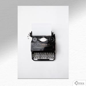 Placa Decorativa Máquina De Escrever A4 MDF 3mm 30X20CM 4x0 Adesivo Fosco Corte Reto Fita Dupla Face 3M