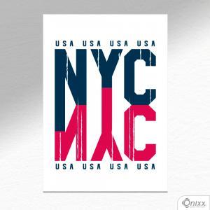 Placa Decorativa NYC A4 MDF 3mm 30X20CM 4x0 Adesivo Fosco Corte Reto Fita Dupla Face 3M