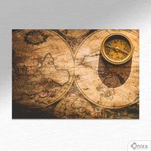 Placa Decorativa Old Map & Compass A4 MDF 3mm 30X20CM 4x0 Adesivo Fosco Corte Reto Fita Dupla Face 3M