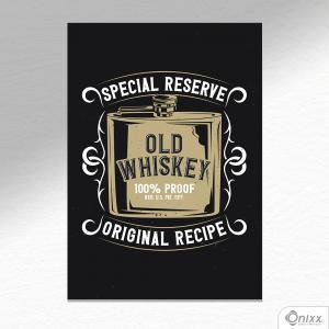 Placa Decorativa Old Whiskey A4 MDF 3mm 30X20CM 4x0 Adesivo Fosco Corte Reto Fita Dupla Face 3M