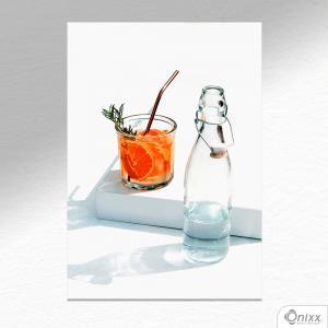 Placa Decorativa Orange Drink A4 MDF 3mm 30X20CM 4x0 Adesivo Fosco Corte Reto Fita Dupla Face 3M