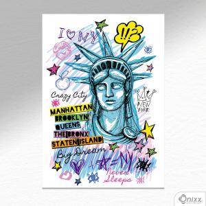Placa Decorativa Popart NY A4 MDF 3mm 30X20CM 4x0 Adesivo Fosco Corte Reto Fita Dupla Face 3M