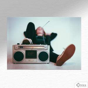 Placa Decorativa Relax And Listen A4 MDF 3mm 30X20CM 4x0 Adesivo Fosco Corte Reto Fita Dupla Face 3M