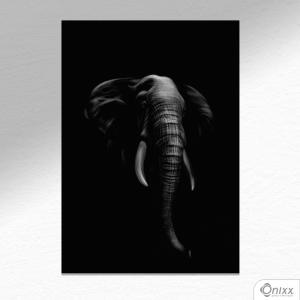 Placa Decorativa Série Animais Black ( Elefante ) A4 MDF 3mm 30X20CM 4x0 Adesivo Fosco Corte Reto Fita Dupla Face 3M