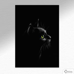 Placa Decorativa Série Animais Black ( Gato ) A4 MDF 3mm 30X20CM 4x0 Adesivo Fosco Corte Reto Fita Dupla Face 3M